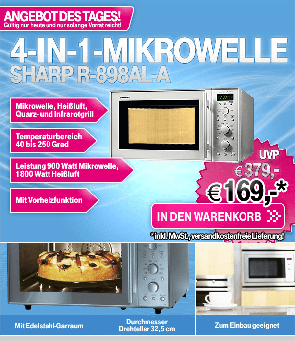 Sharp R-898 AL-A Mikrowelle fr 169 EUR bei T-Online