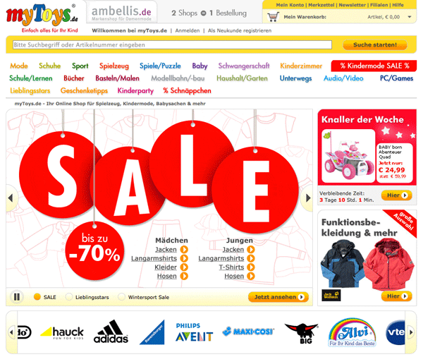 Die myToys Website