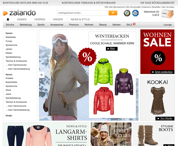 Die Zalando Website